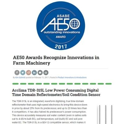 AE50 Awards Recognize Acclima Innovation