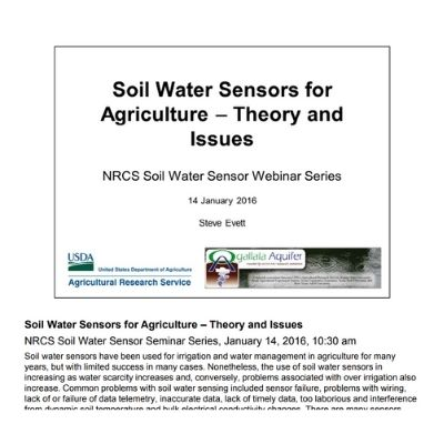 Soil Water Sensors for Agriculture - Theory and Issues