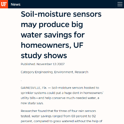 Soil-Moisture Sensors may produce big water savings for homeowners, UF study shows